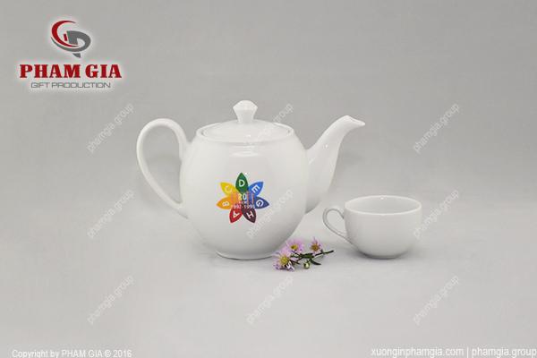 Bộ trà gốm sứ cao cấp in logo